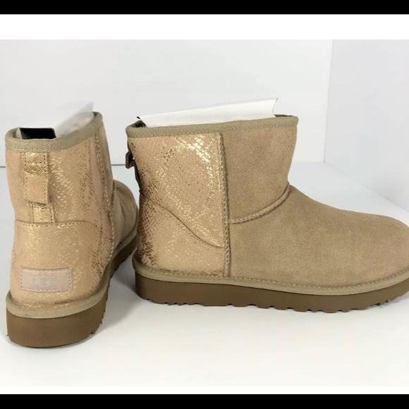 UGG Shoes - Ugg Womens Classic Mini Metallic Gold Snake Boots